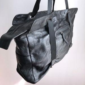 ASOS Black Pebbled Leather Weekender Travel Bag